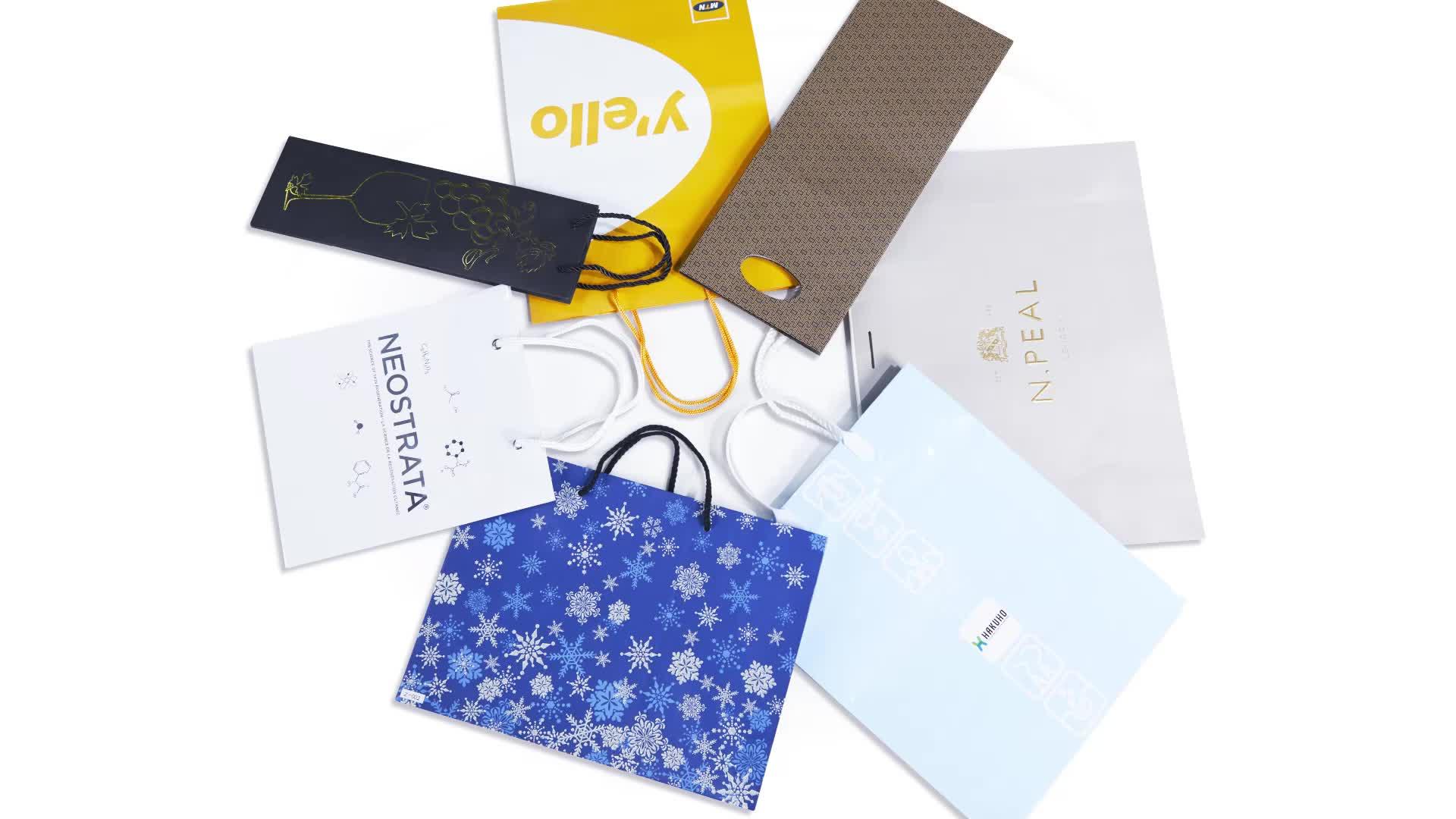 Твист Ручка Складная индивидуальные подарок матовый черный крафт бумага сумка для покупок с логотипами