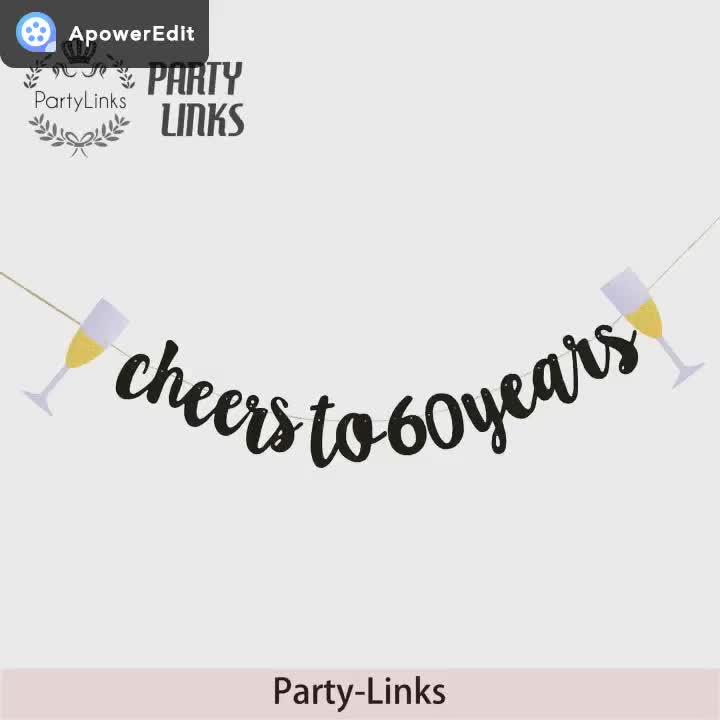 Cheers To Happy Birthday Party Year Glitter Banner Handmade Paper Card Heart Garland Clipart Flag Banners