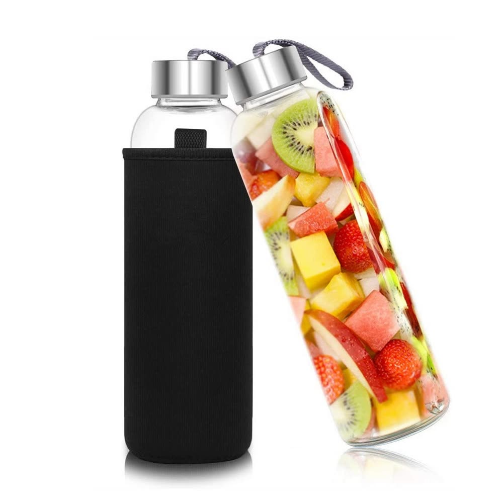 Custom Logo Crystal Clear Glass Water Bottle with Variablel Lid