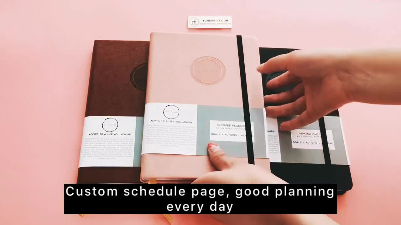 Personalized Custom A5 daily agenda Pocket planner Journal Diary PU Leather Cover dotted / dot grid Notebook with Elastic Band