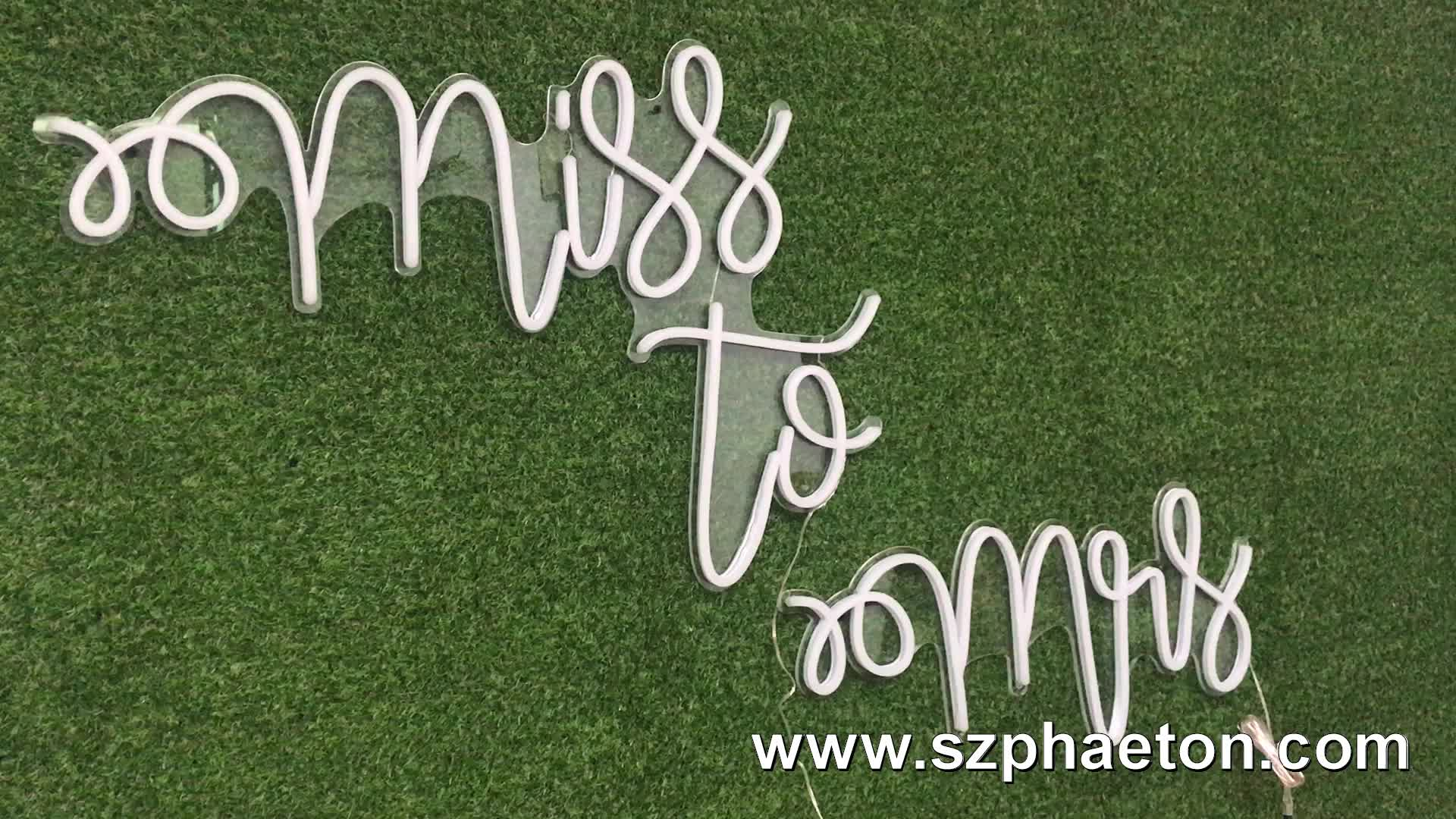 Miss to Mrs custom led neon sign letters, electronic signs for wedding