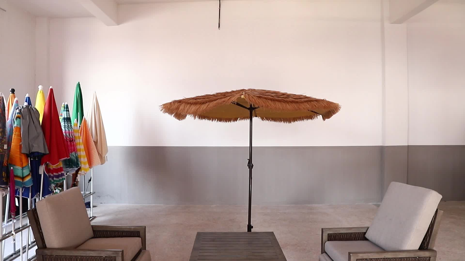 8.2  Feet Beach Umbrella Tiki Thatched Hula Umbrella Straw Parasol  Crank Open System Umbrella in Natural Retro Style