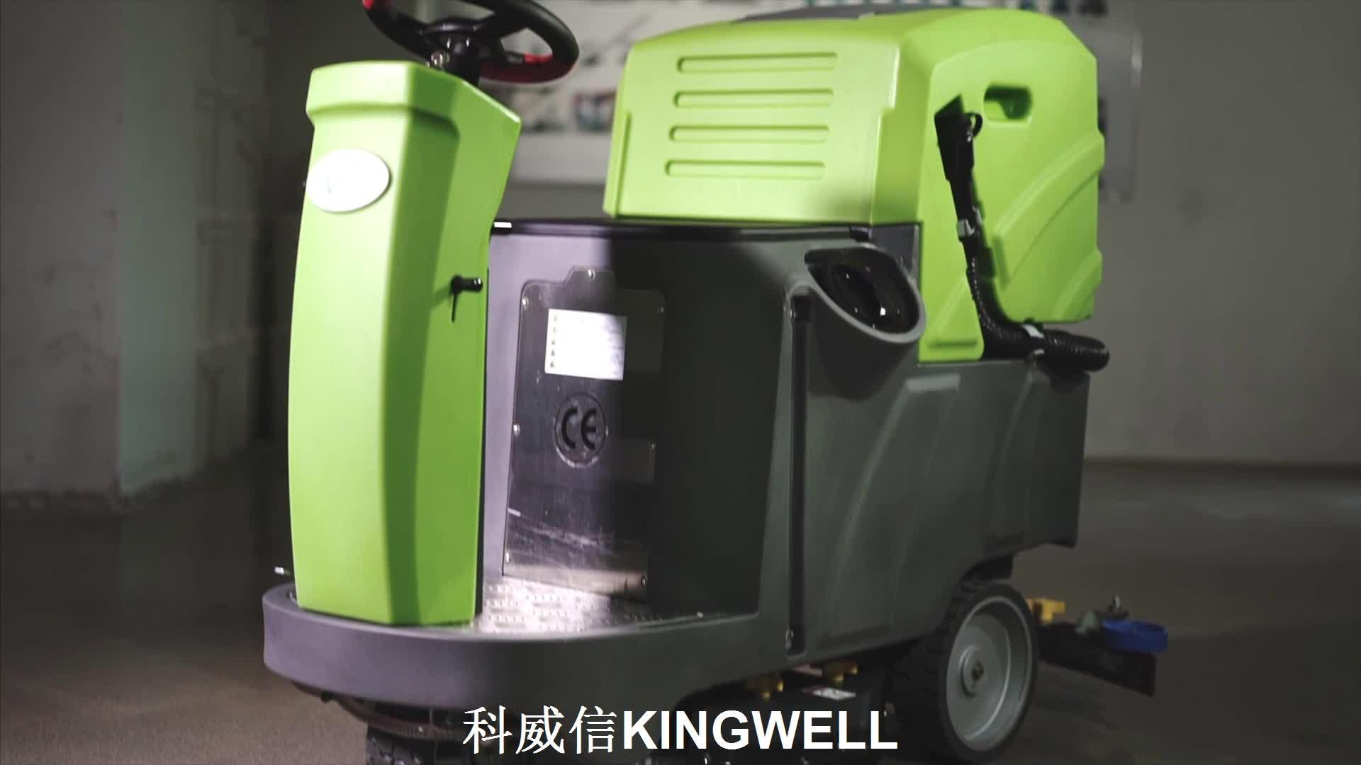 Schnurloser Industriebodenwäscher mit einer Bürste