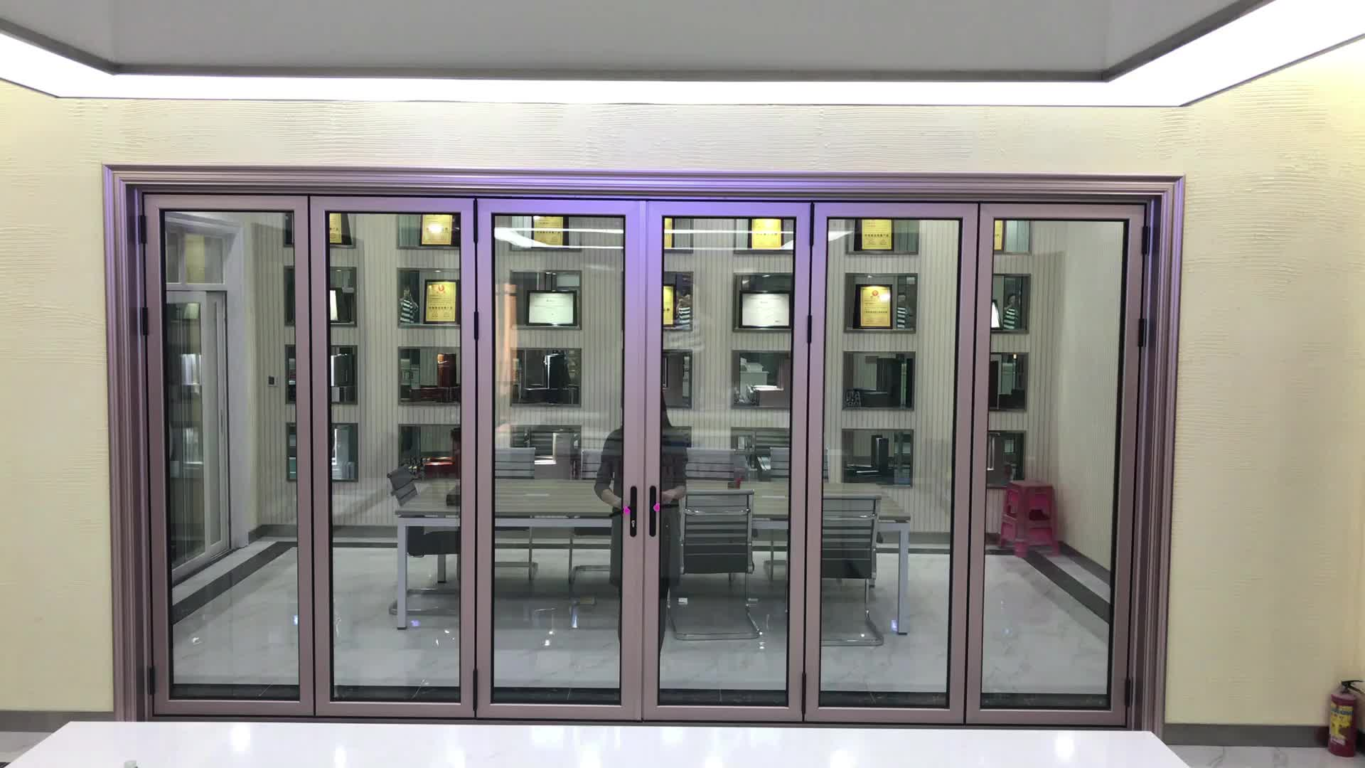 High quality external balcony aluminum thermally efficient bi-fold doors