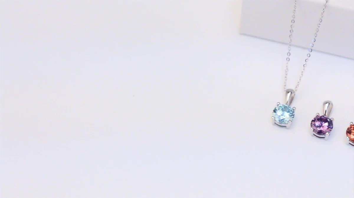 RINNTIN SN118 ファッションスターリングシルバーネックレスキュービックジルコニアネックレスジュエリー女性のペンダントネックレス