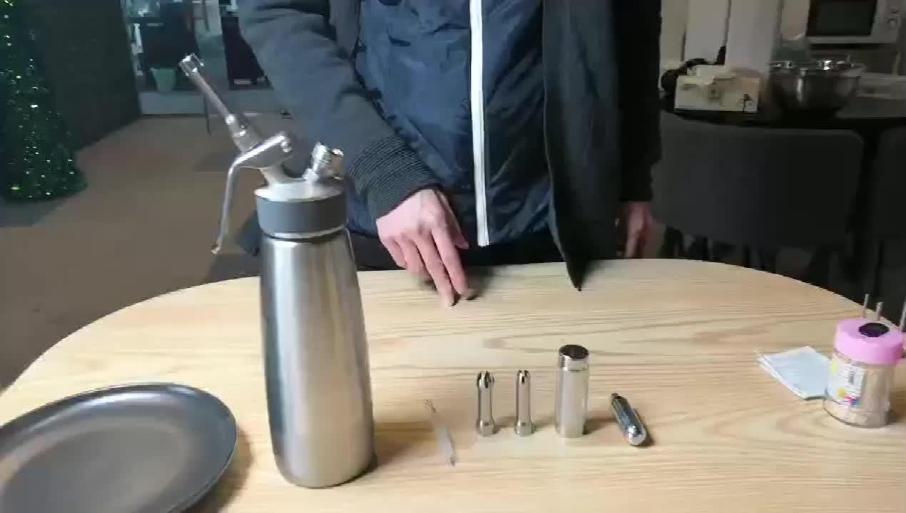 500 ML paslanmaz çelik şişe ve Dağıtım Valfi Krem Kırbaç Dağıtıcı 3 Paslanmaz Çelik Dekorasyon Nozulları