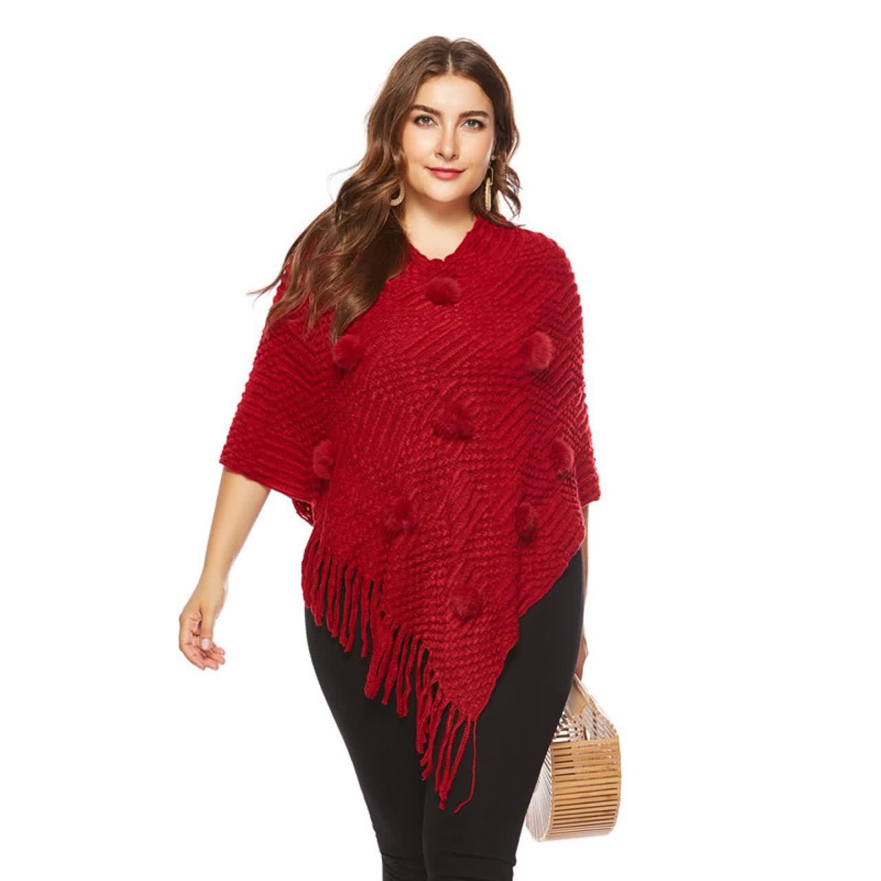 Wholesale western style fat women tassel acrylic poncho sweater