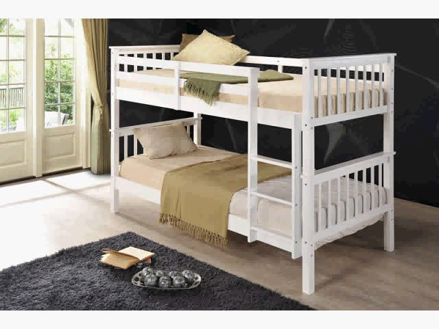 Factory price cheap Wooden Kids White children twin Bunk Bed for bed room