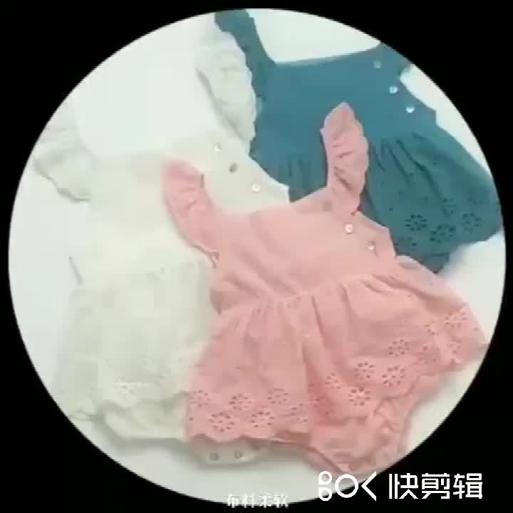 2020 summer outfit new born girl baby dress pure cotton candy colors triangle embroidery climbing clothes