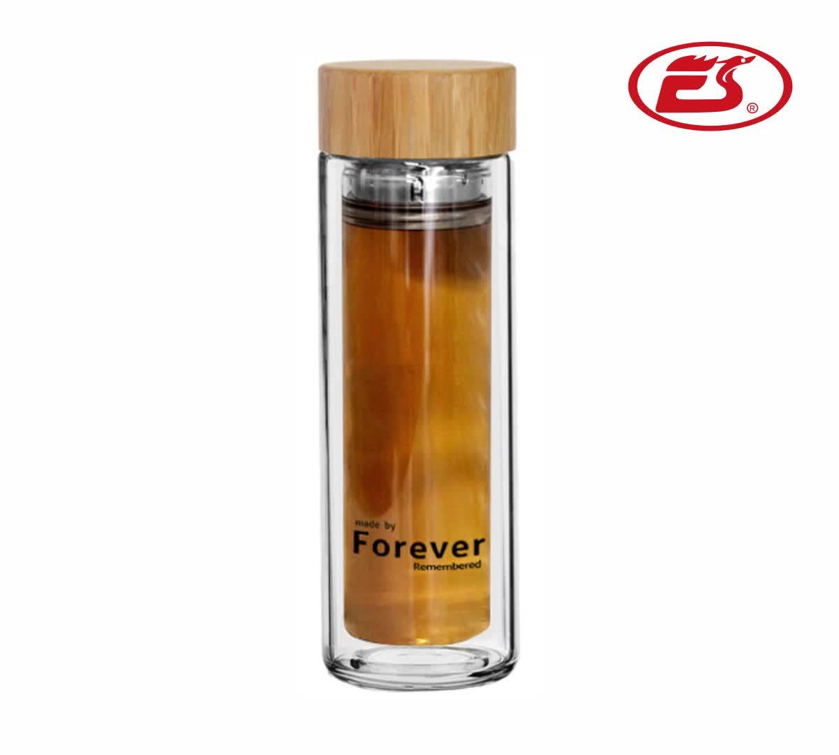 Benutzerdefinierte lasergravur logo auf bambus deckel glas tee flasche mit edelstahl teesieb