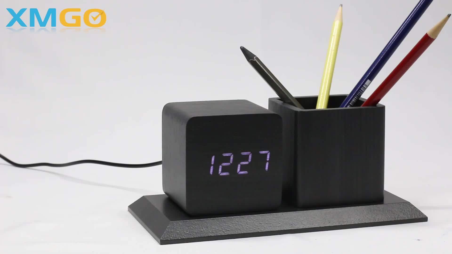 KH-WC009 Produttore Personalizzato Decor Piazza Del Basamento Kid Scrivania Tavolo di Legno Led Digital Alarm Clock Con Il Supporto Della Penna