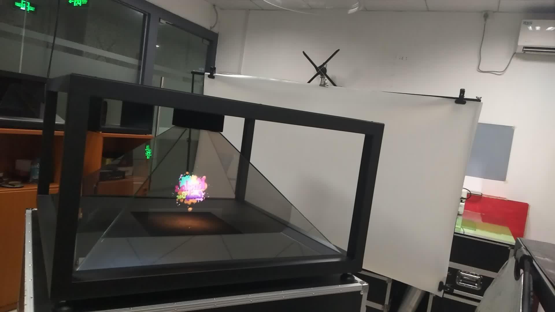 Büyük 4 Taraf Hologram Projektör, 100x100 cm Yüksek End Için Holografik 3d Piramit Ekran Video, sıcak Satış Avrupa'ya