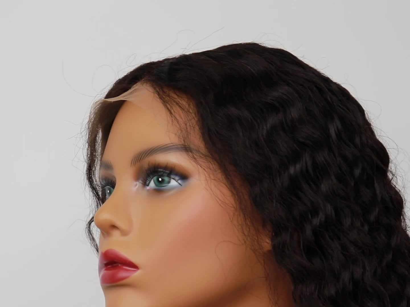 10A Grade Natural Color Deep Wave Pre Plucked Lace Front Human Hair Wig