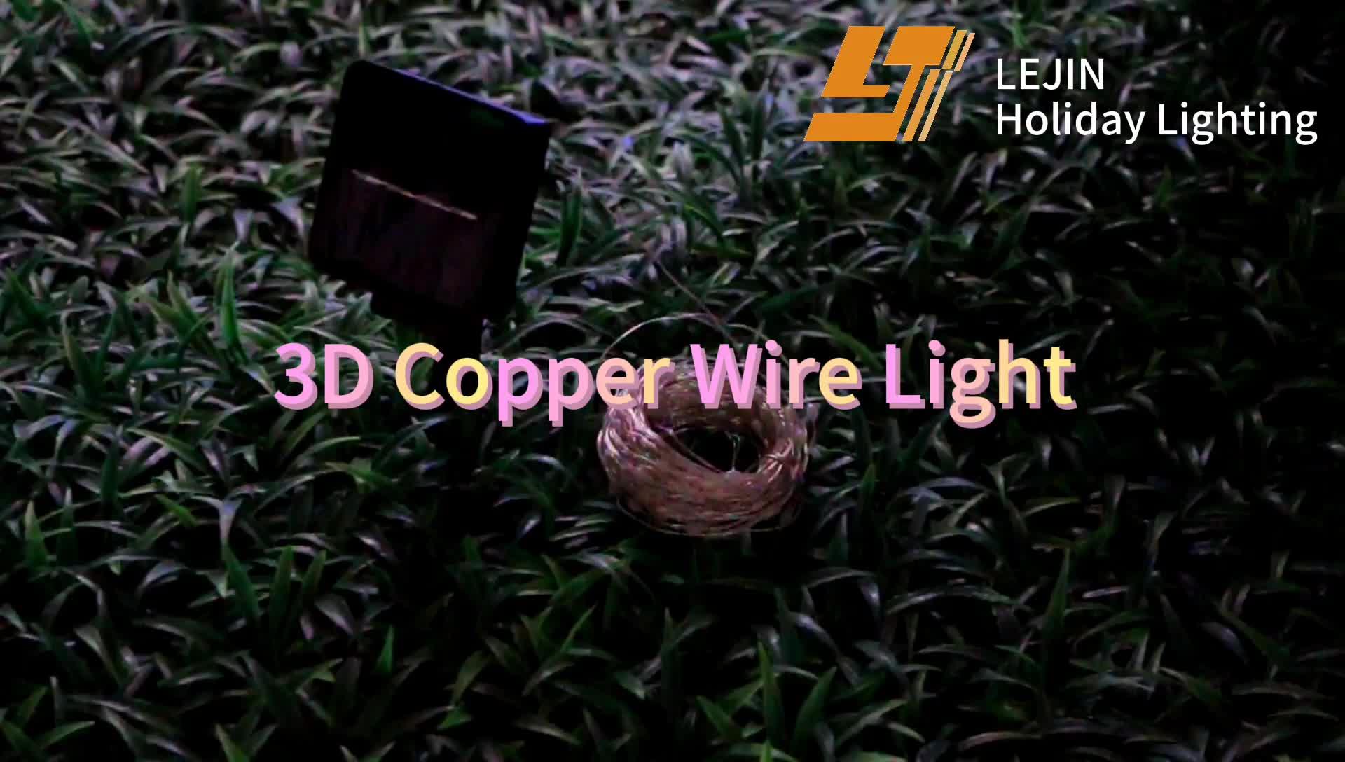 solar powered 3D W/RGB Christmas fairy twinkling led copper lights