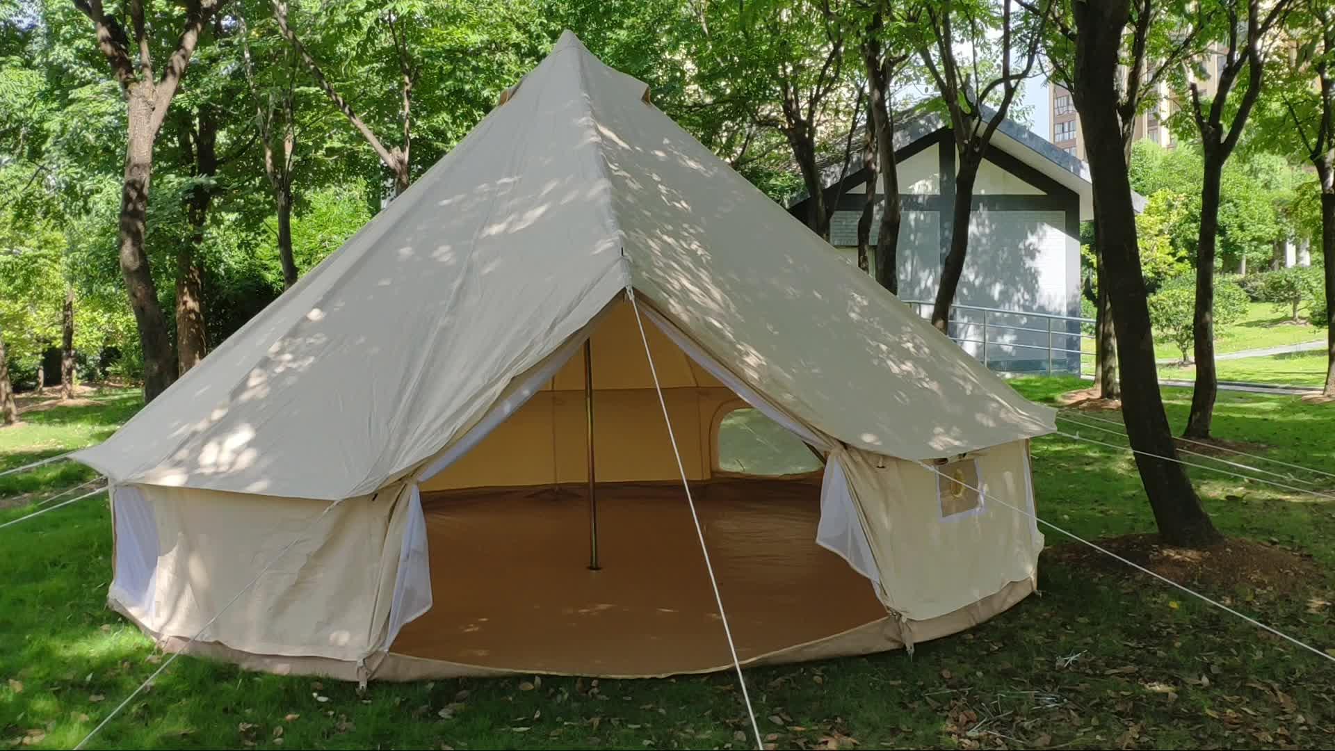Mejor venta impermeable al aire libre de la 4 temporada familia gran camping bell glamping tienda de lujo