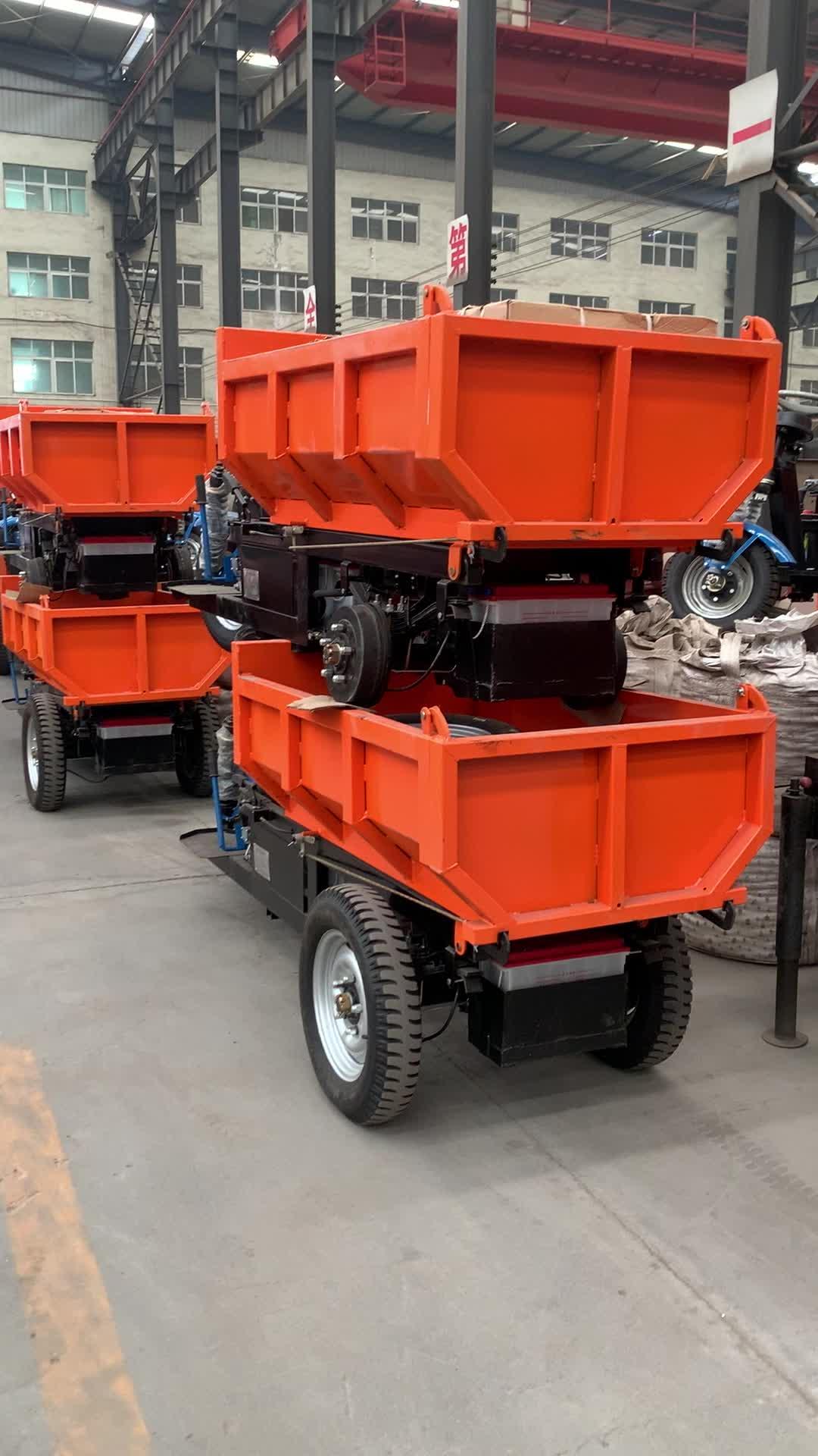 Hidrolik kaldırma sistemi ağır 48V pil sürüş elektrikli kargo üç tekerlekli bisiklet
