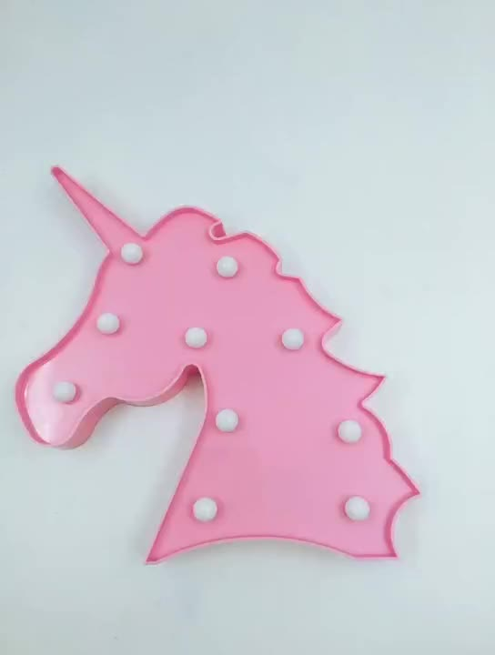 Mini LED marquee unicorn shaped night light battery powered sign for home gifts sending