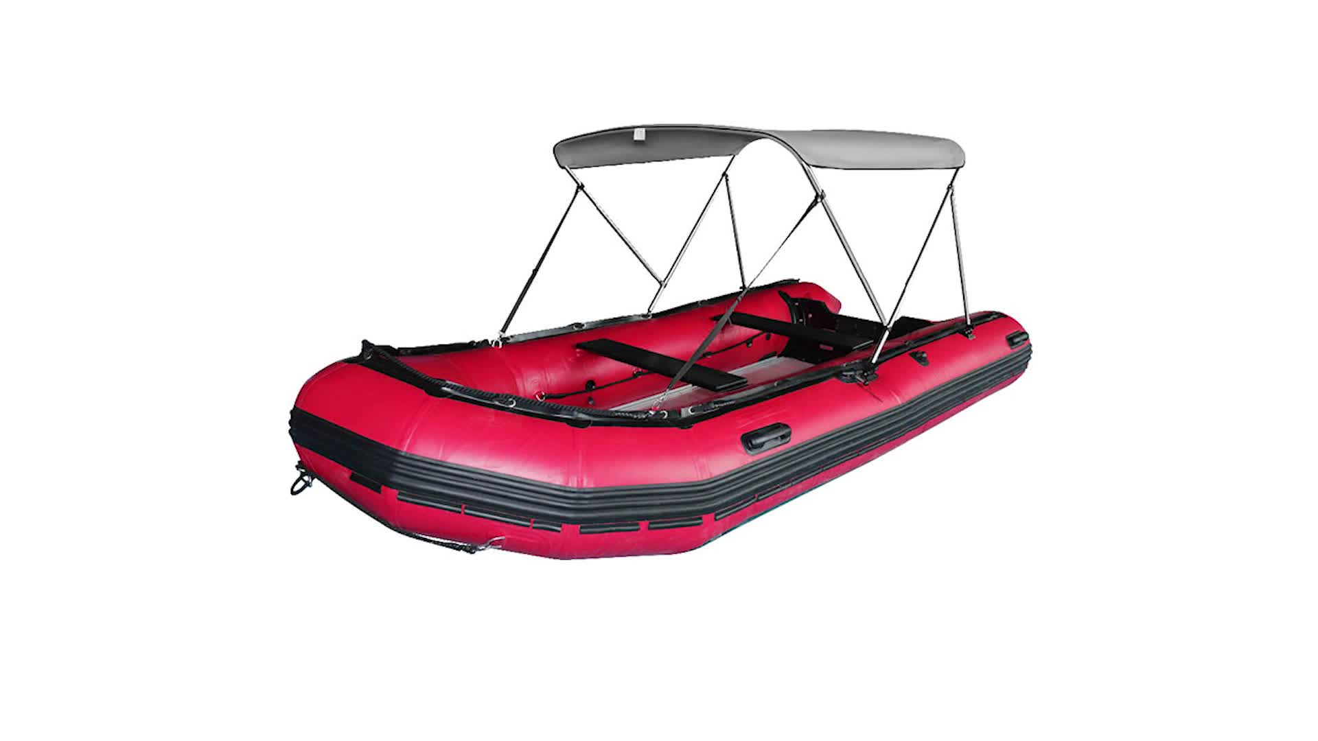 2 Bow Marine Inflatable Boat Bimini Cover Bimini Top with Rear Support Pole and Storage Boot