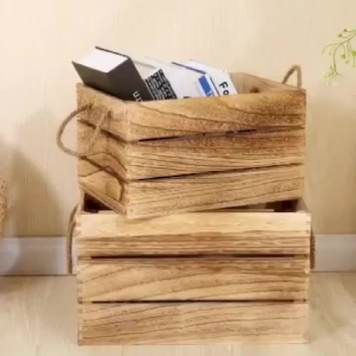 Rustic Reclaimed Wood Wine Storage Crate Bottle Carrier Boxes With Handles
