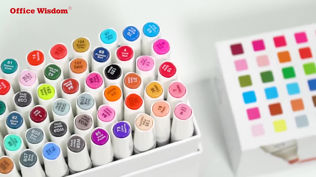 Amazon Hot Selling Art Sketch Twin Marker Pen Set  60 Assorted Colors Alcohol Based Dual Tip Art Permanent Markers art makers