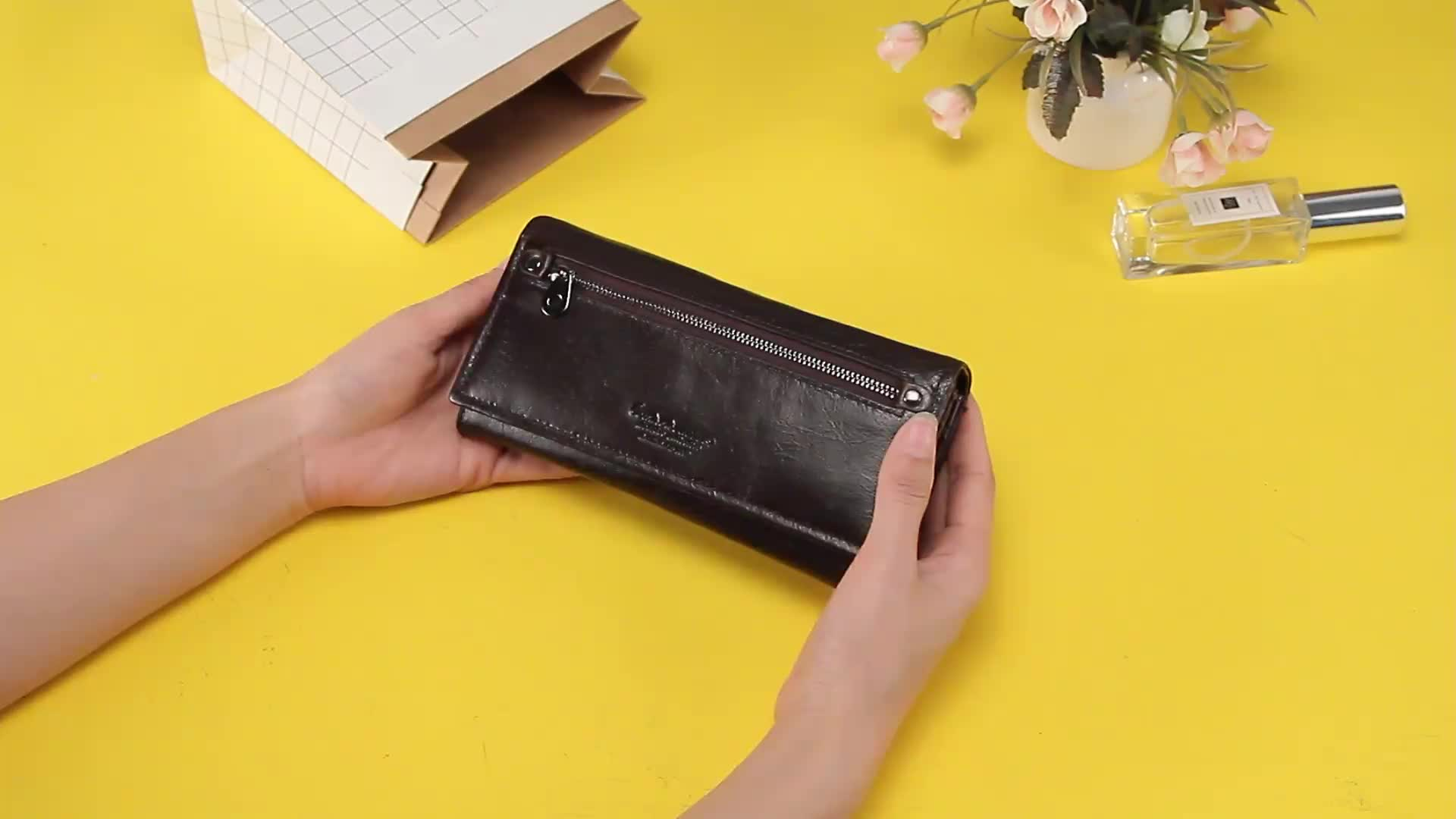 CONTACT'S Latest Genuine Leather Long Women Wallet Ladies Purse with phone holder