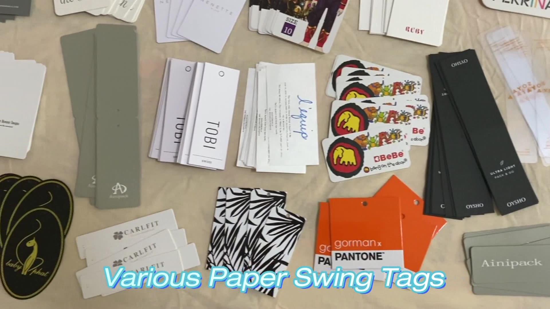 Rose Gold Foil Printing Cardboard Hang Tags Custom Luxury Paper uv Hangtags for Clothing
