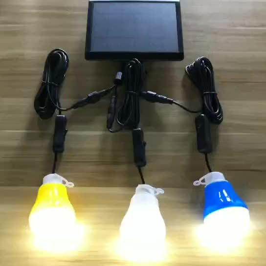 3 Bulbs in 1 Indoor Solar Lights with Mobile Charge