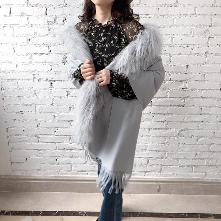 Top quality ladies long style shawl wrap scarf multi colors can be selected woman fur trim wool shawl
