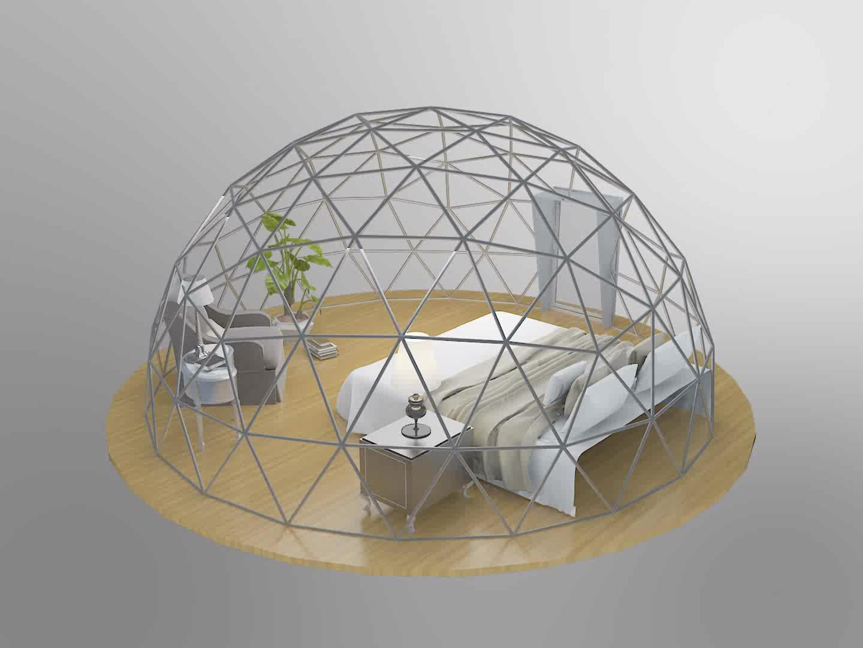 4M Trong Suốt PVC Ống Thép Geodesic Dome Nhà Glamping Getaway Lều Lều Mái Vòm