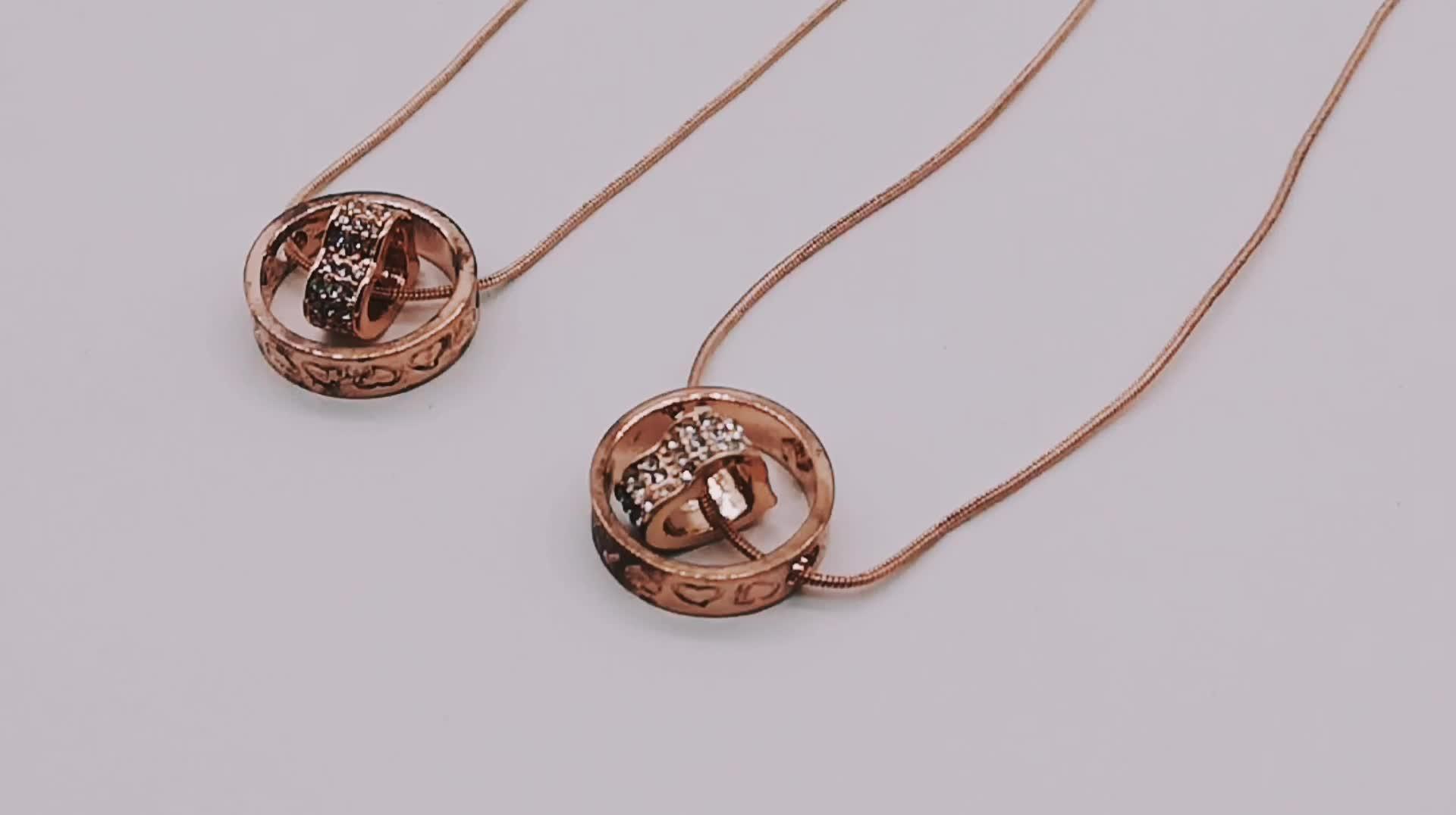 Modische besten verkauf valentine geschenk ring herz schmuck strass liebe anhänger halskette für freundin geschenk
