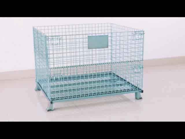 RH-C-U02 1000*800*840+150 movable collapsible wire mesh container with wheels