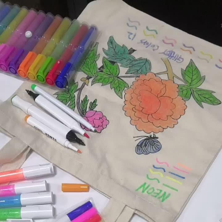 Spidol Tekstil Tinta Permanen Pada Kanvas, Katun, dan Spidol Peralatan Tulis Kain Lainnya
