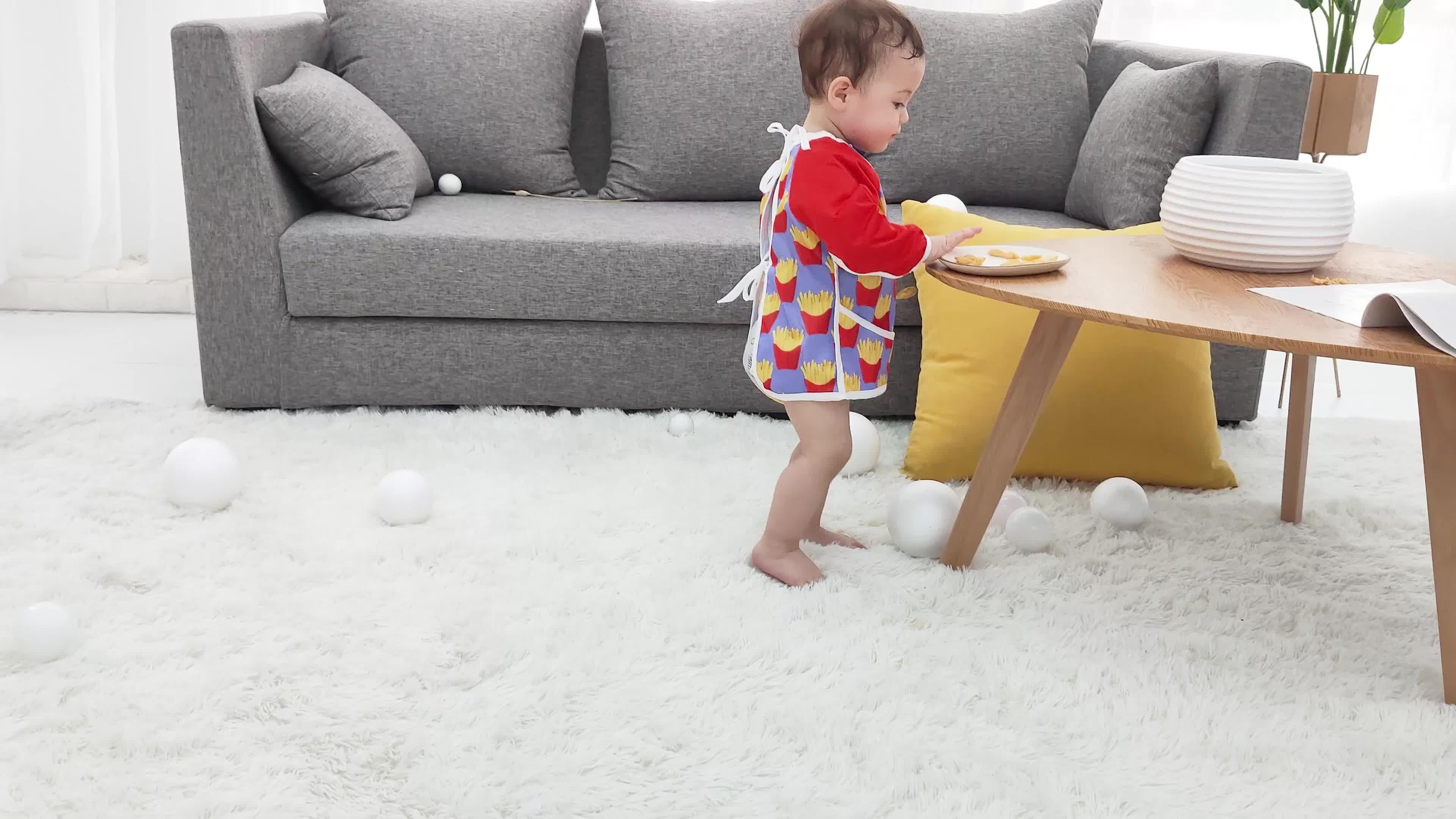 Mutlu flüt su geçirmez yıkanabilir bebek minky uzun kollu önlük bebek erkek bebek kız bandana önlükler