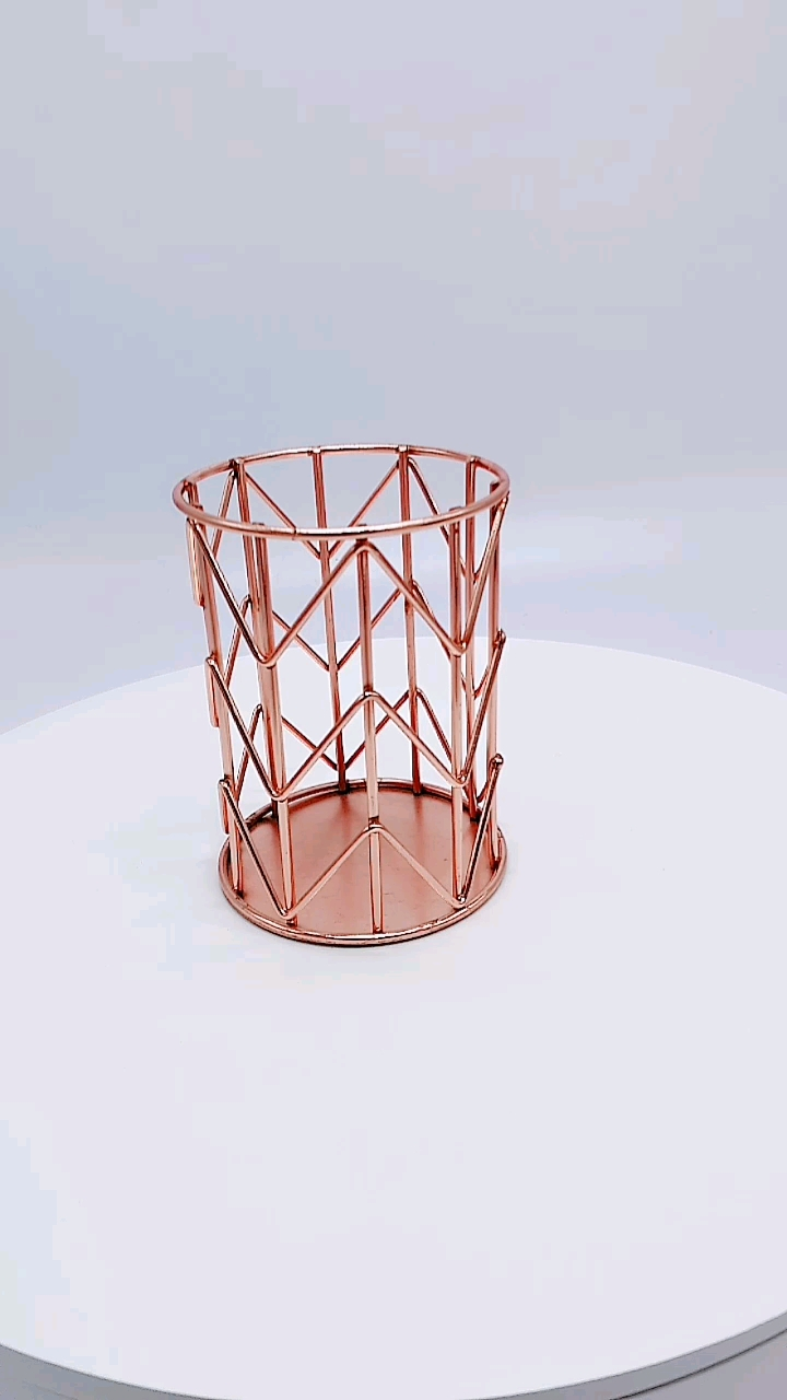 Office Desktop Accessories Electroplate Rose Gold Round Table Metal Pen Holder