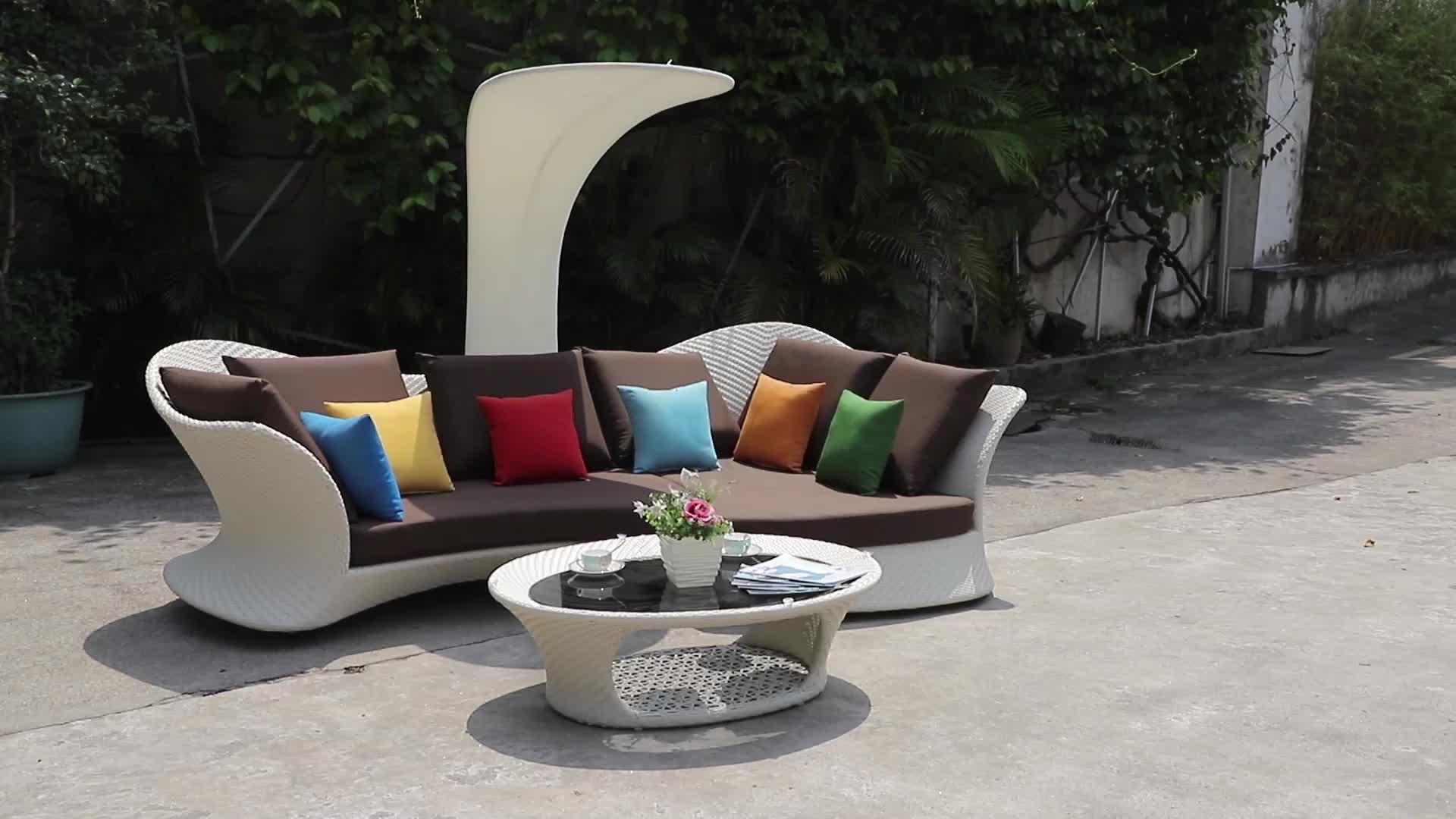 יוקרה מודולרי L בצורת מודרני גן נצרים חיצוני חתך ספה