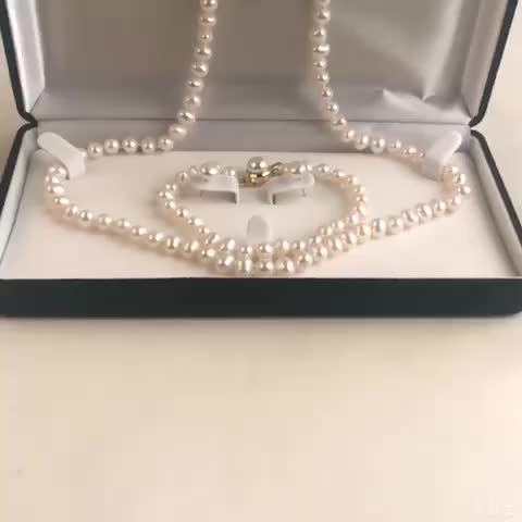Elegant 6-7mm Potato Pearl With Plated Gold Pearl Jewelry Set