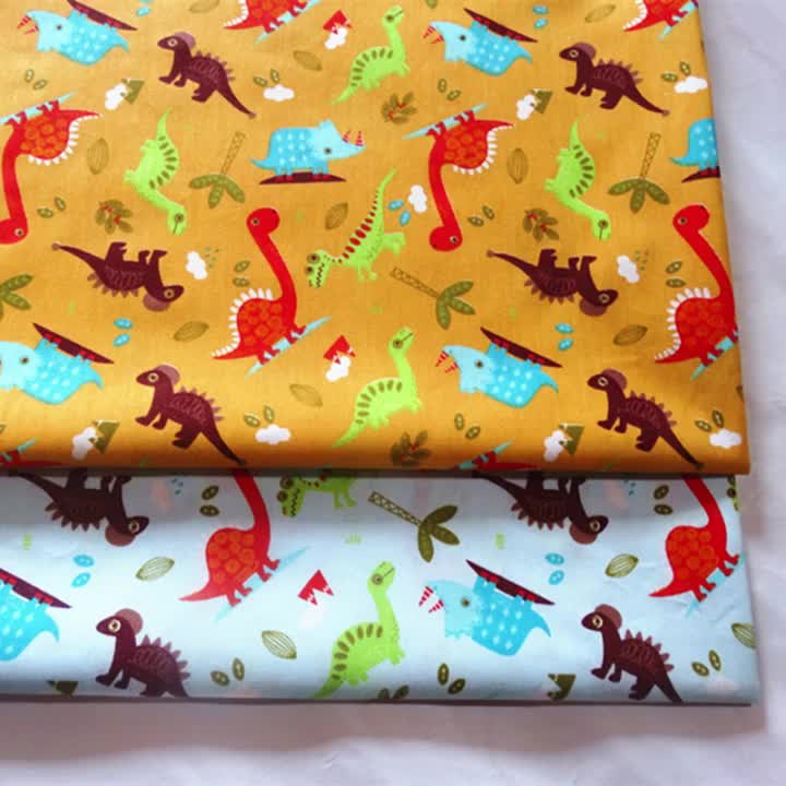 Dinosaur cartoon series baby children patchwork cloth DIY sewing quilting quarters bedding material twill printed cotton fabric