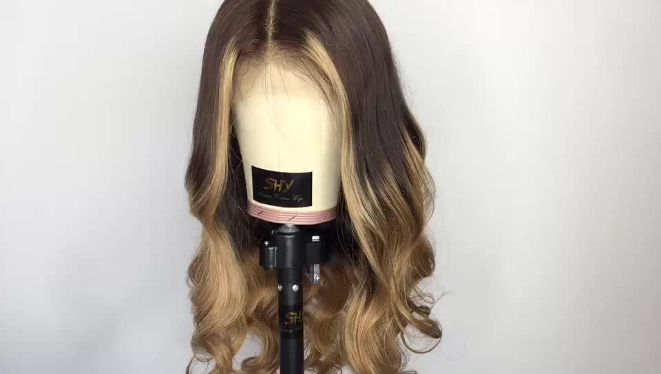 Popular 2 Tone + Highlights Color Body Wave Natural Hairline Virgin Hair Middle Part Full Lace Brazilian Human Hair Wig