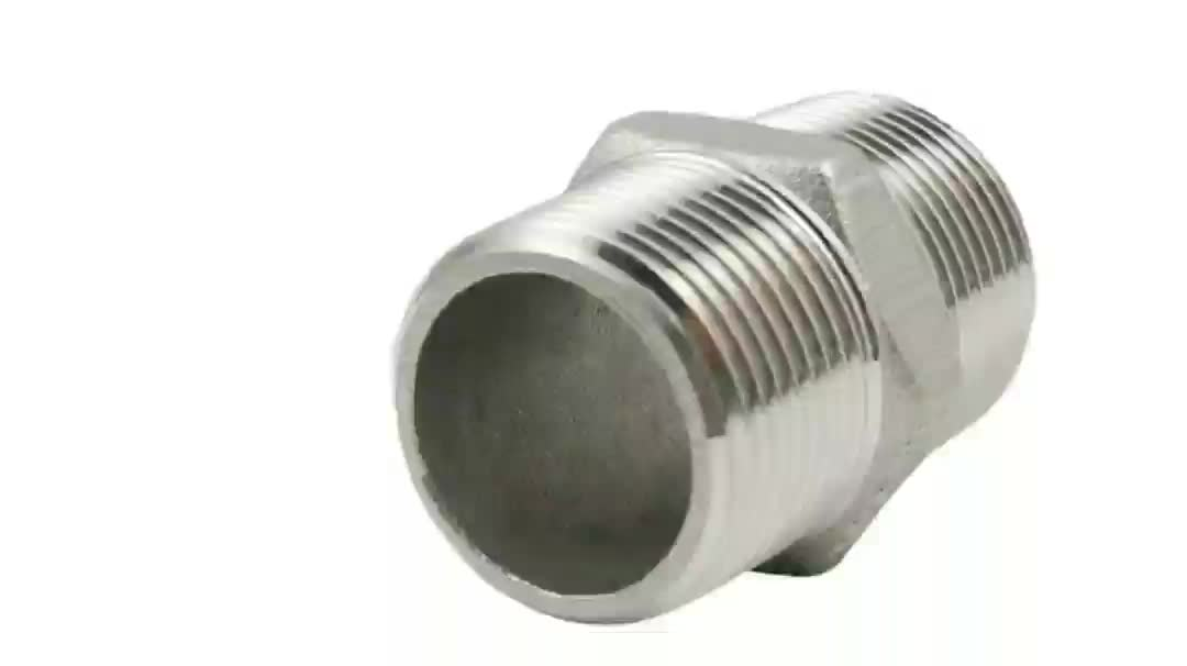 "stainless steel high pressure hexagonal nipple fittings high pressure Stainless Steel nipple 11/2"" equal nipple"