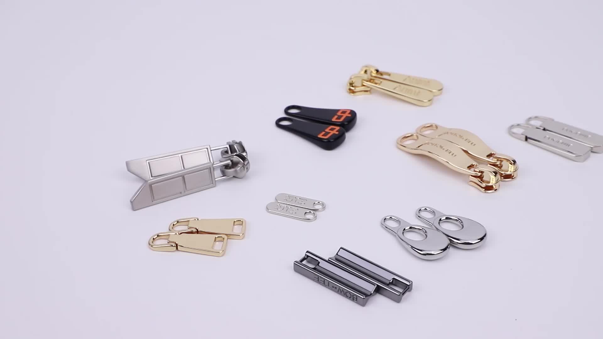 5 # oro Inciso Logo In Metallo Cursore Della Cerniera Estrattore, Borsa Hardware Personalizzato Oro Zip In Metallo Tira