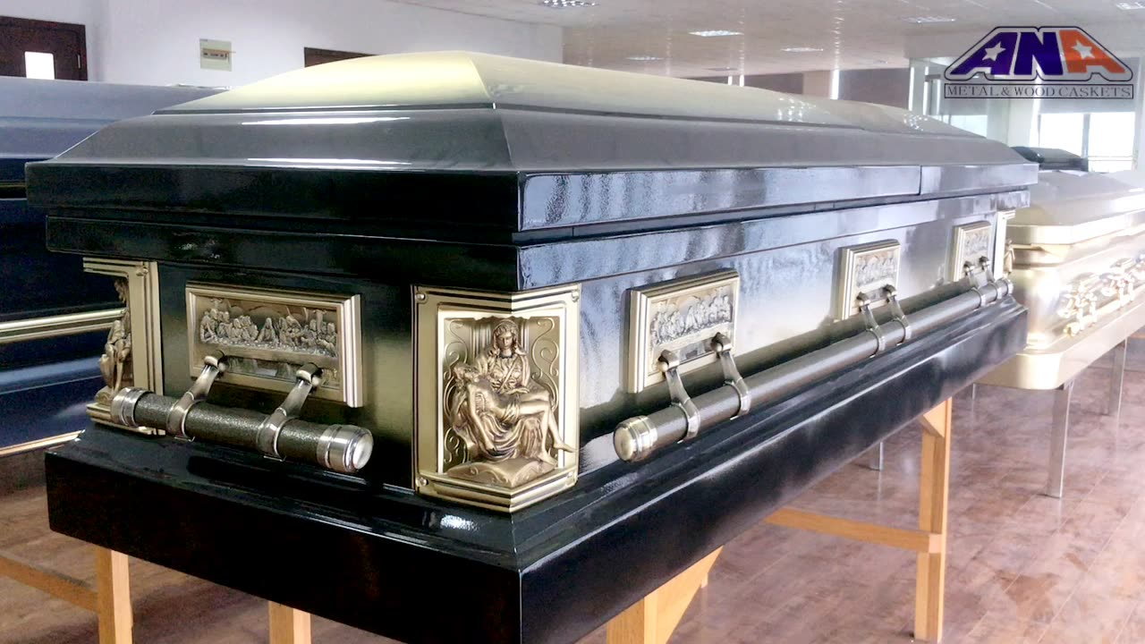 ANA American Style last supper interior luxury Solid Bronze funeral casket