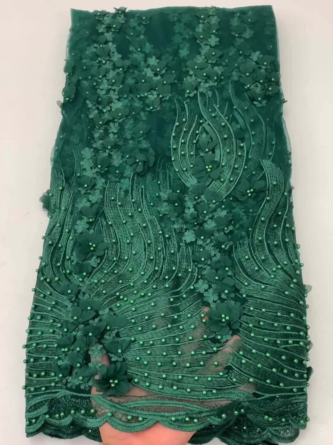 African Lace Fabric 2020 Embroidered Nigerian 3D Flowers Laces Fabric French Tulle Lace Fabric for Bridal Wedding Dress XZ2817B