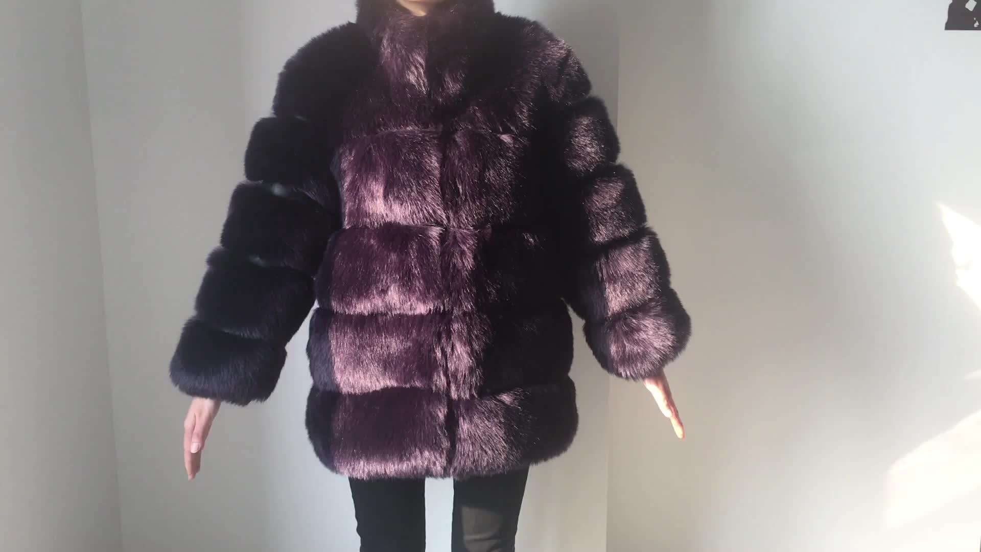 2018 ฤดูหนาวขนสัตว์ร้อนแฟชั่นผู้หญิงฤดูหนาวเสื้อผ้ายาวสีเทา Faux Fox เสื้อขนสัตว์เสื้อขนสัตว์