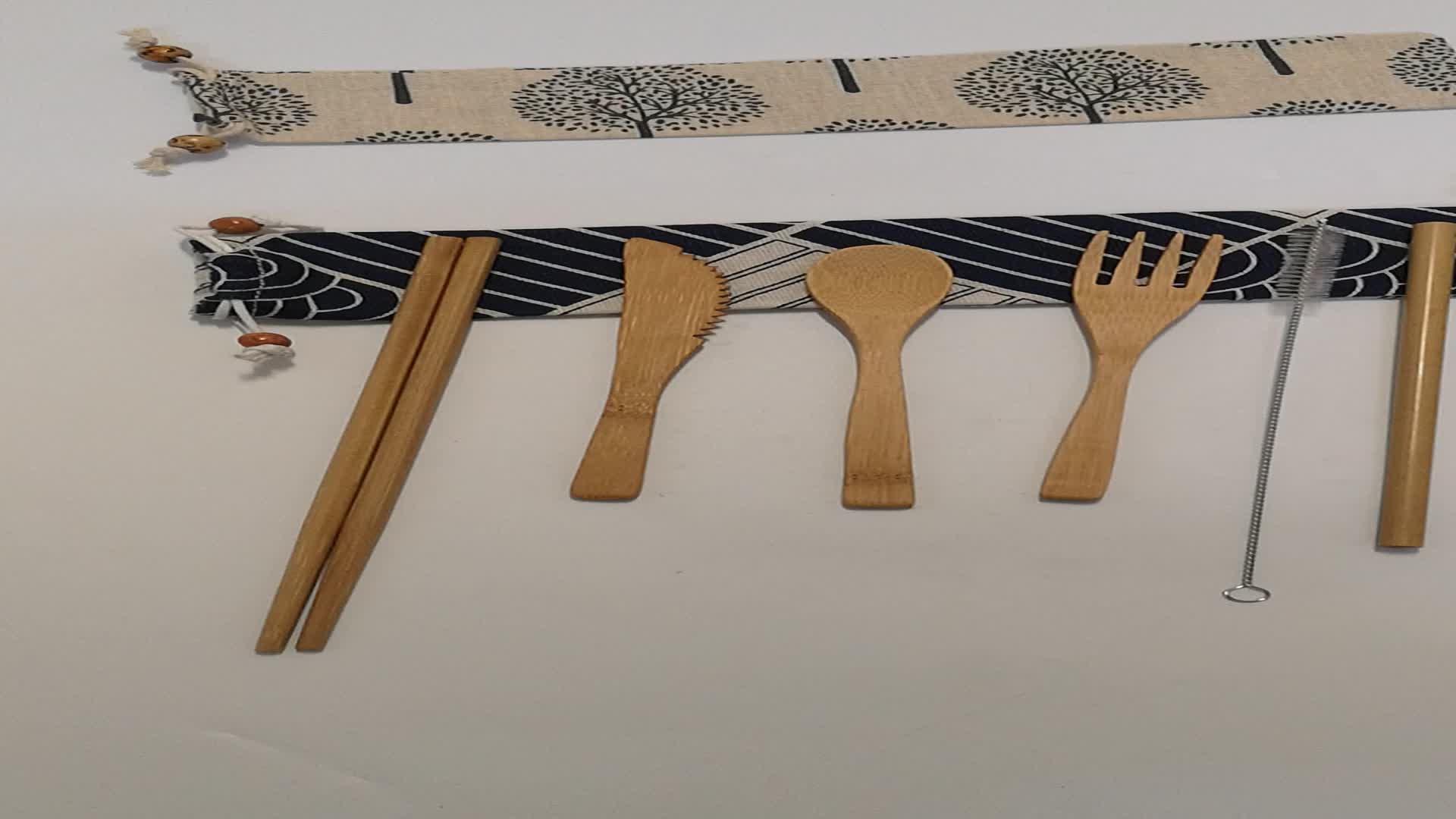 Bamboe reizen Gebruiksvoorwerp bestek set, bamboe Bestek Set metalen rietjes