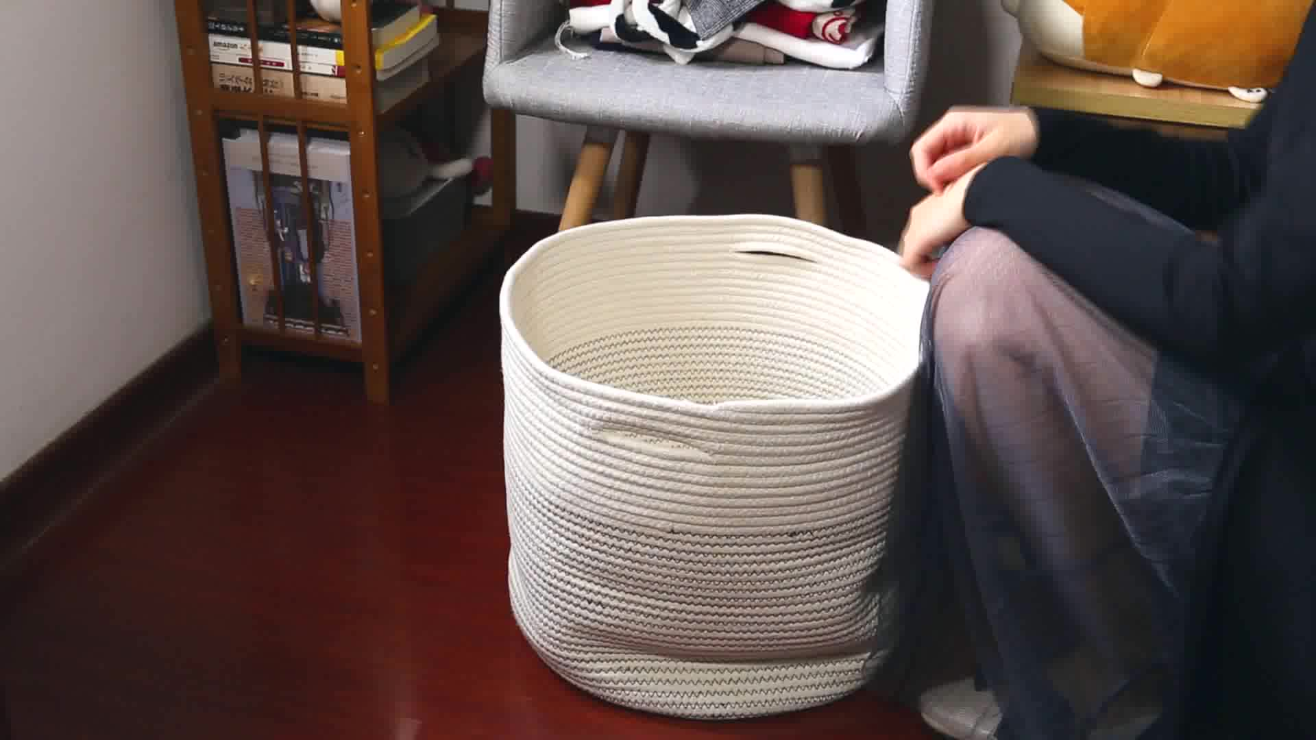 QJMAX Extra Large Woven Cotton Rope Storage Basket With Pom-Poms For Living Room