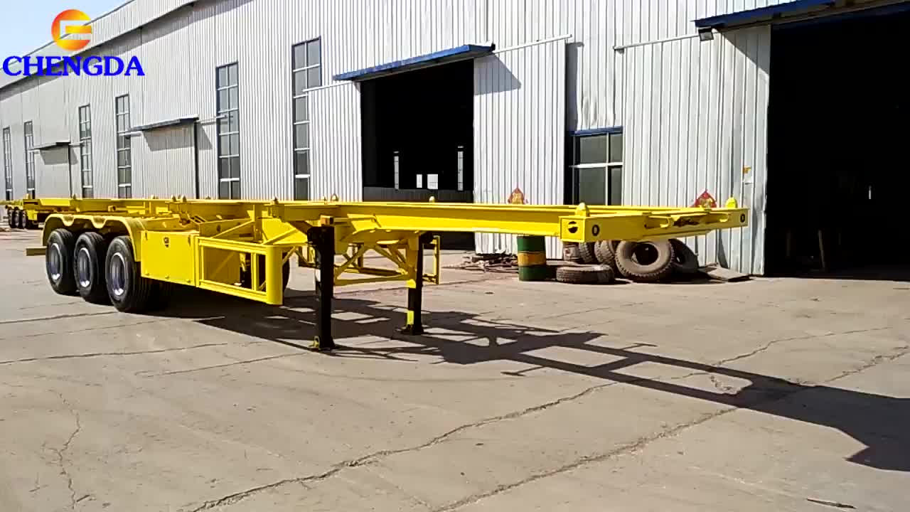 20 40 45FT 2/3/4 Axle Gooseneck Chassis Pipe Carrying Skeleton Trailer