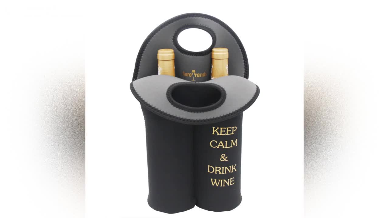 2 Bottle Pack Insulated Neoprene Wine Carrier Waterproof Tote Bag With Handle