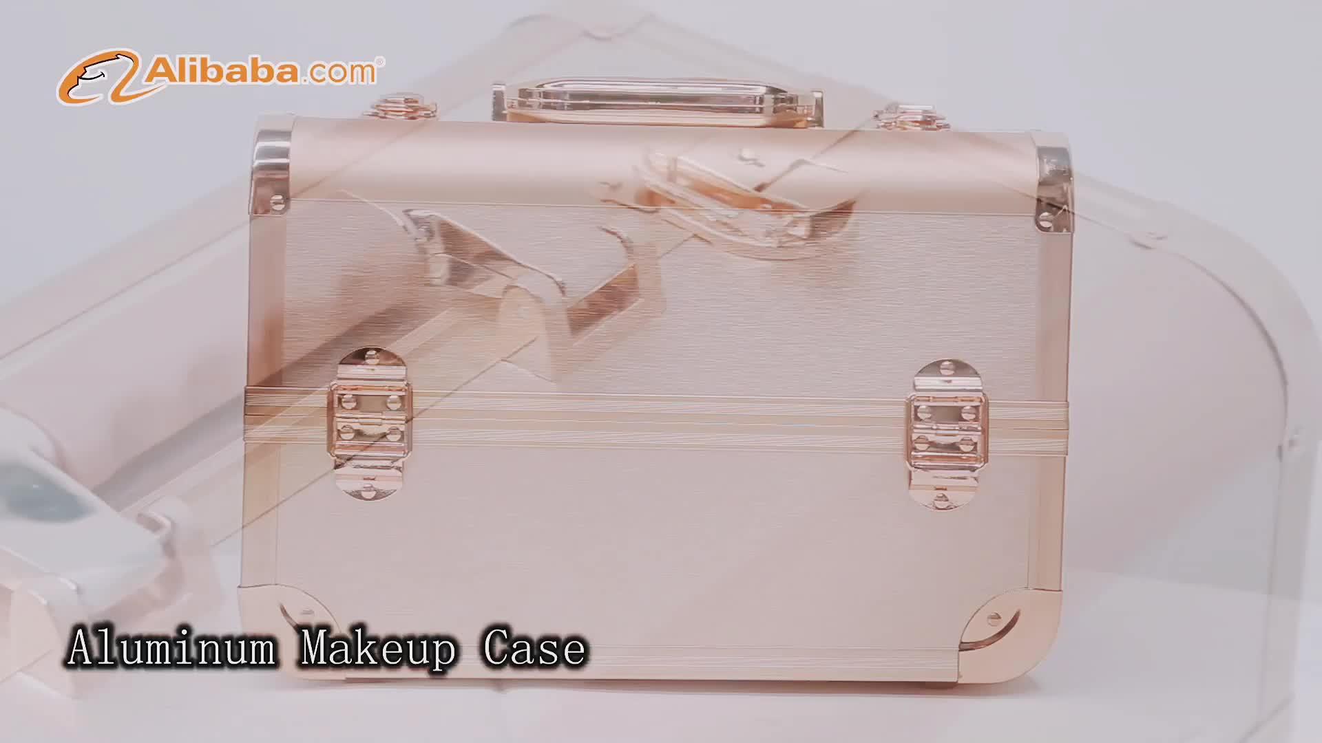 Yaeshii Waterproof Hard Rose Gold Custom Logo Beauty  aluminum portable professional makeup train case