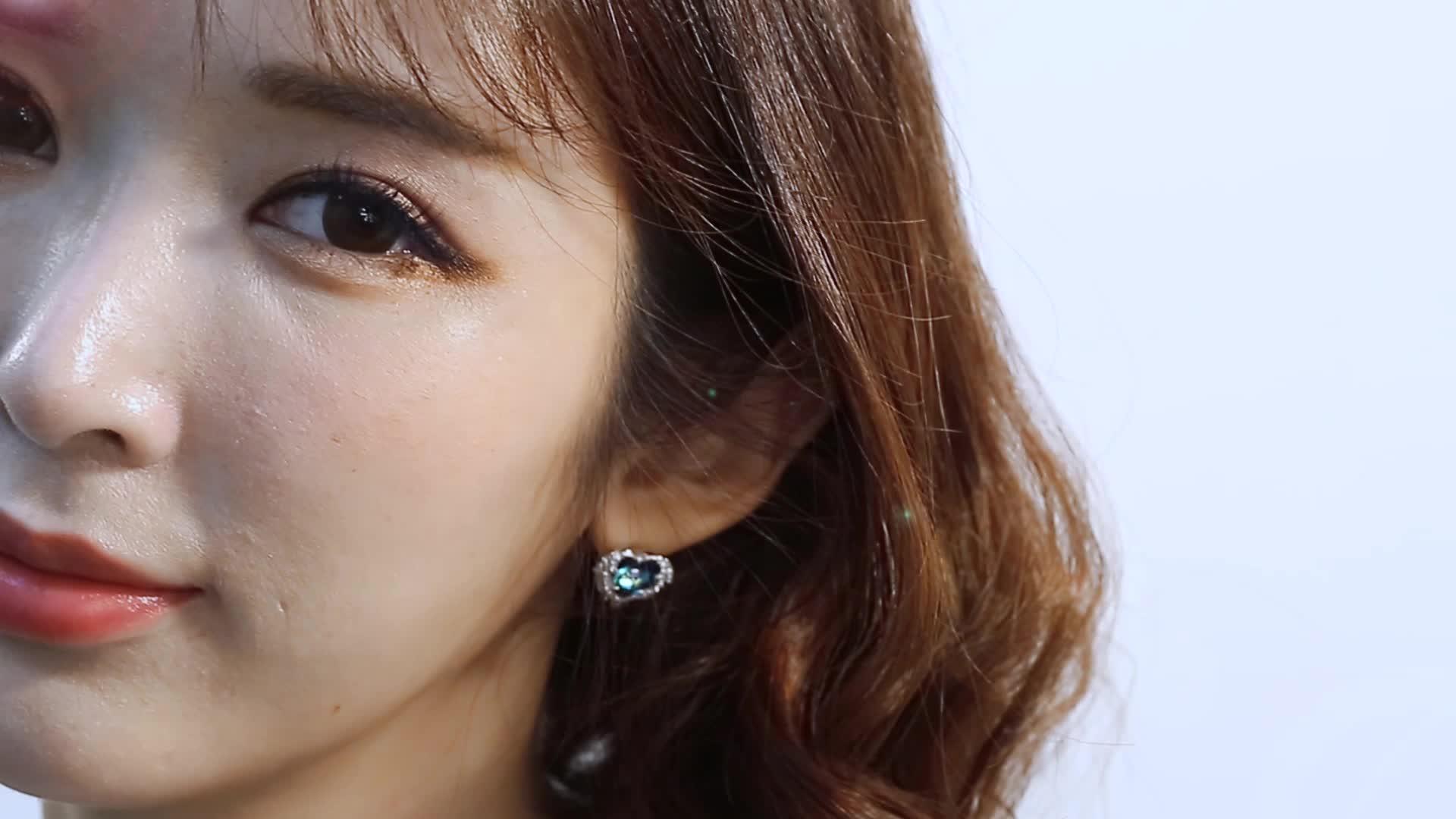 西黛尔S925纯银海洋之心天使项链女小众设计时尚简约水晶吊坠链
