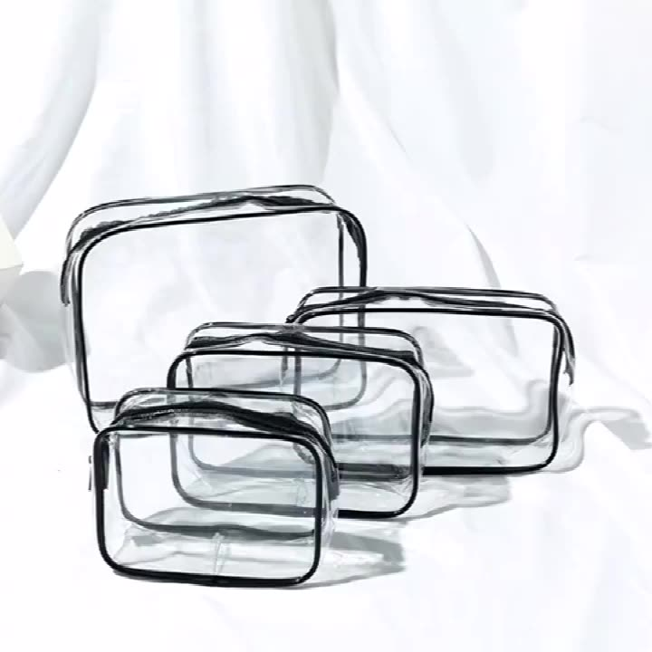 Women Clear Makeup Organizer Pouches Tote Travel Toiletry Bags Transparent PVC Cosmetic Bag